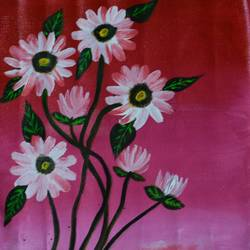 beautifull daisy flowers, 11 x 10 inch, sujitha  sreeramula chengalrayan,11x10inch,canvas,paintings,flower paintings,paintings for living room,paintings for bedroom,paintings for kids room,paintings for living room,paintings for bedroom,paintings for kids room,acrylic color,GAL02189833689