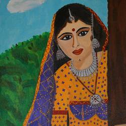 rural woman, 12 x 16 inch, shweta singh,portrait paintings,paintings for living room,canvas,acrylic color,12x16inch,GAL012423369