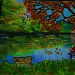 enjoying the beautiful scenery, 17 x 12 inch, sujitha  sreeramula chengalrayan,17x12inch,canvas,paintings,nature paintings | scenery paintings,paintings for dining room,paintings for living room,paintings for bedroom,paintings for office,paintings for kids room,paintings for hotel,paintings for hospital,acrylic color,GAL02189833691