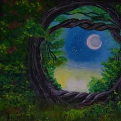 moonlight in the forest, 20 x 15 inch, sujitha  sreeramula chengalrayan,20x15inch,canvas,paintings,nature paintings | scenery paintings,paintings for dining room,paintings for living room,paintings for bedroom,paintings for office,paintings for kids room,paintings for hotel,paintings for kitchen,paintings for school,paintings for hospital,acrylic color,GAL02189833692