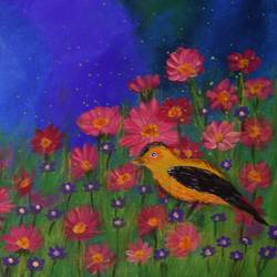 bird in the daisy field, 16 x 12 inch, sujitha  sreeramula chengalrayan,16x12inch,canvas,paintings,nature paintings | scenery paintings,paintings for dining room,paintings for living room,paintings for bedroom,paintings for office,paintings for hotel,acrylic color,GAL02189833698