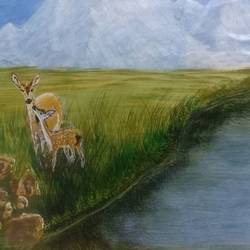 mother and baby spot deer by the lake and icy mountain view., 11 x 8 inch, vemula venkata rama rao,11x8inch,paper,paintings,wildlife paintings,landscape paintings,nature paintings | scenery paintings,animal paintings,paintings for dining room,paintings for living room,paintings for bedroom,paintings for kids room,paintings for dining room,paintings for living room,paintings for bedroom,paintings for kids room,acrylic color,GAL02192733699