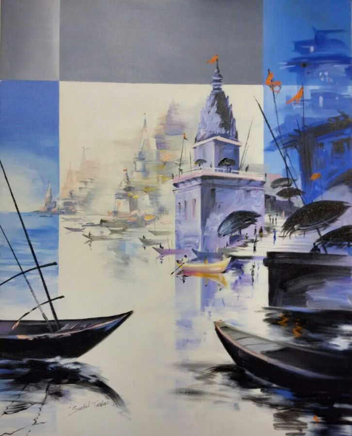 varanasi temples , 24 x 30 inch, sushil  tarbar ,landscape paintings,paintings for living room,canvas,acrylic color,24x30inch,GAL0144337