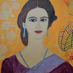 indian lady, 12 x 8 inch, shweta singh,portrait paintings,paintings for living room,canvas,acrylic color,12x8inch,GAL012423370