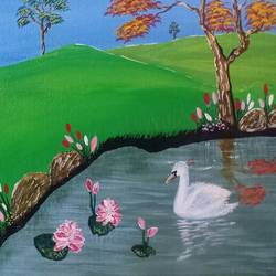 nature scenery, 16 x 12 inch, vemula venkata rama rao,16x12inch,canvas board,paintings,landscape paintings,nature paintings | scenery paintings,paintings for dining room,paintings for living room,paintings for bedroom,acrylic color,GAL02192733704