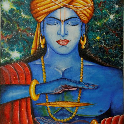 lord krishna in meditation, 18 x 24 inch, giridhar alwar,18x24inch,canvas,paintings,conceptual paintings,religious paintings,photorealism paintings,photorealism,realism paintings,paintings for living room,paintings for hotel,paintings for school,acrylic color,GAL0740833708