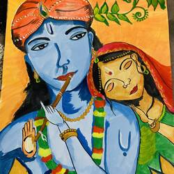 radha krishna, 12 x 16 inch, amelia ghosh,12x16inch,thick paper,paintings,religious paintings,radha krishna paintings,paintings for living room,paintings for office,acrylic color,GAL02178033710