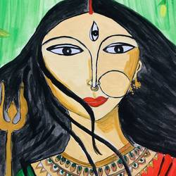 ma durga, 11 x 14 inch, amelia ghosh,11x14inch,thick paper,religious paintings,paintings for living room,paintings for living room,acrylic color,GAL02178033712