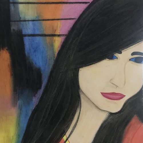 a modern girl, 10 x 13 inch, aishwarya dange,10x13inch,drawing paper,paintings,abstract paintings,paintings for dining room,paintings for living room,paintings for bedroom,paintings for bathroom,paintings for hotel,pastel color,pen color,paper,GAL02194233714