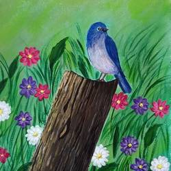 blue bird , 12 x 18 inch, lin taji,12x18inch,paper,paintings,nature paintings | scenery paintings,acrylic color,GAL02190033718