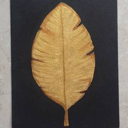 golden leaf set, 26 x 10 inch, prajakta  thomas,abstract paintings,paintings for living room,canvas,acrylic color,26x10inch,GAL012103372