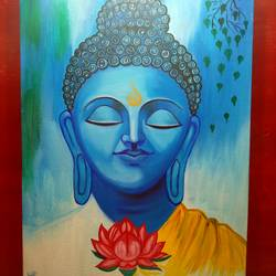 meditating buddha, 12 x 16 inch, shambhavi mishra mishra,12x16inch,canvas board,paintings,buddha paintings,paintings for dining room,paintings for living room,paintings for bedroom,paintings for office,paintings for hotel,paintings for school,paintings for hospital,acrylic color,GAL01966833728