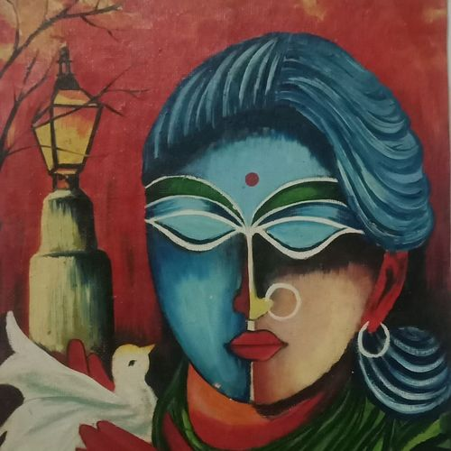 women & peaceness, 11 x 15 inch, puja singha,11x15inch,oil sheet,paintings,abstract paintings,paintings for dining room,paintings for living room,paintings for bedroom,paintings for office,paintings for kids room,paintings for school,paintings for dining room,paintings for living room,paintings for bedroom,paintings for office,paintings for kids room,paintings for school,oil color,GAL02164333730