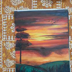 sunset beauty, 12 x 16 inch, pushpa mondal,12x16inch,drawing paper,paintings,paintings for dining room,paintings for living room,paintings for bedroom,paintings for office,paintings for kids room,paintings for hotel,paintings for kitchen,watercolor,GAL01984633741