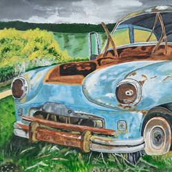 vintage wrecked car, 16 x 24 inch, tejal bhagat,16x24inch,canvas,paintings,flower paintings,landscape paintings,nature paintings | scenery paintings,expressionism paintings,illustration paintings,impressionist paintings,photorealism paintings,photorealism,realism paintings,surrealism paintings,contemporary paintings,realistic paintings,paintings for dining room,paintings for living room,paintings for bedroom,paintings for office,paintings for hotel,paintings for kitchen,paintings for school,paintings for hospital,acrylic color,GAL02041533746