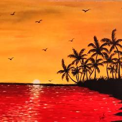 sunset beauty , 17 x 12 inch, lin taji,17x12inch,paper,paintings,abstract paintings,landscape paintings,nature paintings | scenery paintings,acrylic color,paper,GAL02190033752