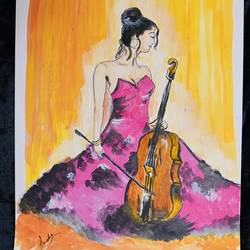 cello the sound of passion, 12 x 16 inch, amelia ghosh,12x16inch,thick paper,paintings,portrait paintings,expressionism paintings,acrylic color,GAL02178033754