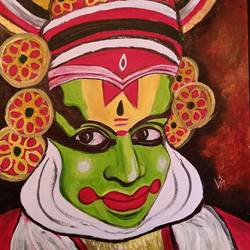 kathakali dancer , 12 x 18 inch, lin taji,12x18inch,renaissance watercolor paper,paintings,figurative paintings,folk art paintings,conceptual paintings,portrait paintings,acrylic color,paper,GAL02190033755