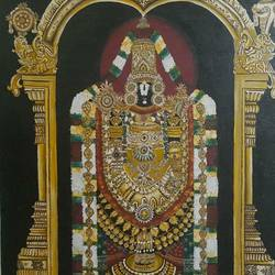 tirupati balaji, 18 x 24 inch, ratna  bose ,18x24inch,canvas,paintings,paintings for living room,oil color,GAL02197833757