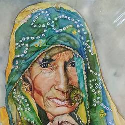 old lady, 11 x 15 inch, surabhi  singh ,11x15inch,handmade paper,paintings,portrait paintings,art deco paintings,expressionism paintings,photorealism,realism paintings,realistic paintings,watercolor,GAL01950533766