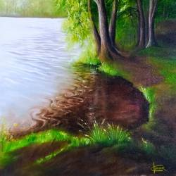 lake in morning, 15 x 23 inch, kumar ranadive,15x23inch,canvas,landscape paintings,paintings for living room,paintings for living room,oil color,GAL01956933774