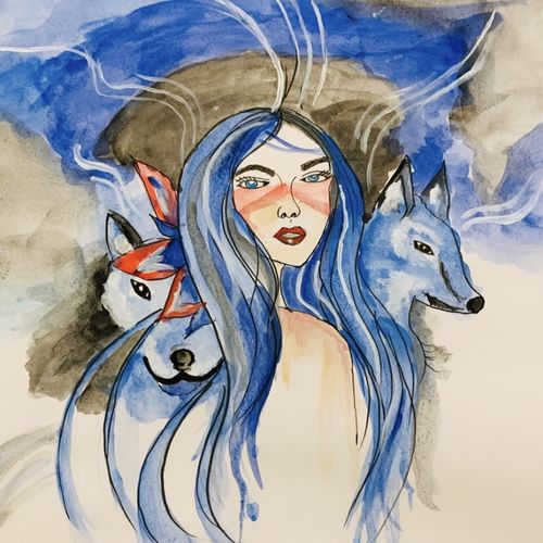 the queen of wolves , 12 x 16 inch, amelia ghosh,12x16inch,thick paper,paintings,modern art paintings,portrait paintings,expressionism paintings,watercolor,GAL02178033777