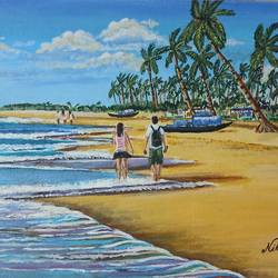 a  walk on a seashore , 14 x 18 inch, nilina guha,14x18inch,canvas board,paintings,landscape paintings,nature paintings | scenery paintings,art deco paintings,love paintings,paintings for living room,paintings for bedroom,paintings for office,paintings for hotel,acrylic color,GAL02203033778