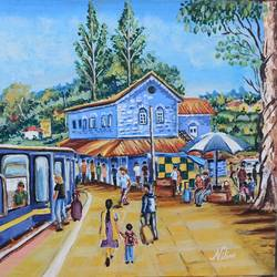 nilgiri mountain railway station, 14 x 18 inch, nilina guha,14x18inch,canvas board,paintings,landscape paintings,nature paintings | scenery paintings,art deco paintings,paintings for dining room,paintings for living room,paintings for bedroom,paintings for office,paintings for kids room,paintings for hotel,paintings for school,paintings for hospital,acrylic color,GAL02203033779