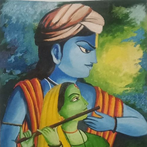 radhakrishna, 11 x 15 inch, puja singha,11x15inch,oil sheet,paintings,radha krishna paintings,paintings for dining room,paintings for living room,paintings for bedroom,paintings for office,oil color,GAL02164333784