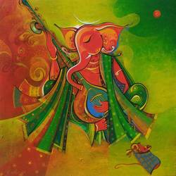 ganesha, 24 x 24 inch, m. singh,24x24inch,canvas,paintings,cityscape paintings,religious paintings,ganesha paintings | lord ganesh paintings,paintings for dining room,paintings for living room,paintings for bedroom,paintings for office,paintings for kids room,paintings for hotel,paintings for school,paintings for hospital,acrylic color,GAL0537733788