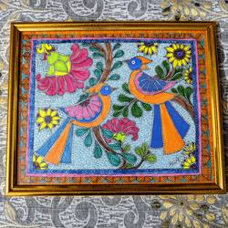 madhubani parrots, 15 x 12 inch, aparna kaushik,15x12inch,cartridge paper,paintings,folk art paintings,madhubani paintings | madhubani art,acrylic color,paper,GAL02205133790