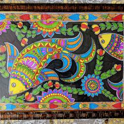 madhubani fish, 17 x 12 inch, aparna kaushik,17x12inch,cartridge paper,paintings,folk art paintings,acrylic color,paper,GAL02205133791