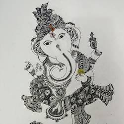 ganesh, 12 x 16 inch, ayushi maheshwari,12x16inch,cartridge paper,drawings,pen color,pencil color,GAL02179433793