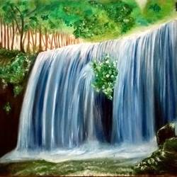 the flux, 30 x 24 inch, anugrah mishra,landscape paintings,paintings for bedroom,water fountain paintings,canvas,oil,30x24inch,GAL012583381