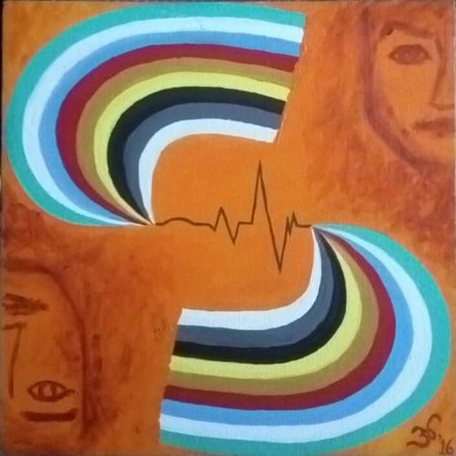 systolic - diastolic, 18 x 18 inch, anugrah mishra,abstract paintings,paintings for living room,canvas,acrylic color,18x18inch,GAL012583382