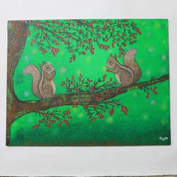 playful squirrels, 18 x 14 inch, neha nayak,18x14inch,canvas board,paintings,nature paintings | scenery paintings,acrylic color,GAL02207233835