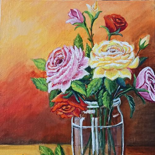 a bunch of roses in a glass vase  , 10 x 12 inch, nilina guha,10x12inch,canvas board,paintings,flower paintings,still life paintings,nature paintings | scenery paintings,art deco paintings,realism paintings,realistic paintings,paintings for dining room,paintings for living room,paintings for bedroom,paintings for office,paintings for kids room,paintings for hotel,paintings for kitchen,paintings for hospital,acrylic color,GAL02203033836