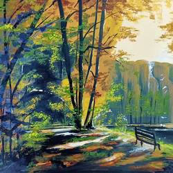 forest scenery, 12 x 15 inch, rajshree dhruw,12x15inch,thick paper,landscape paintings,acrylic color,GAL0760133839