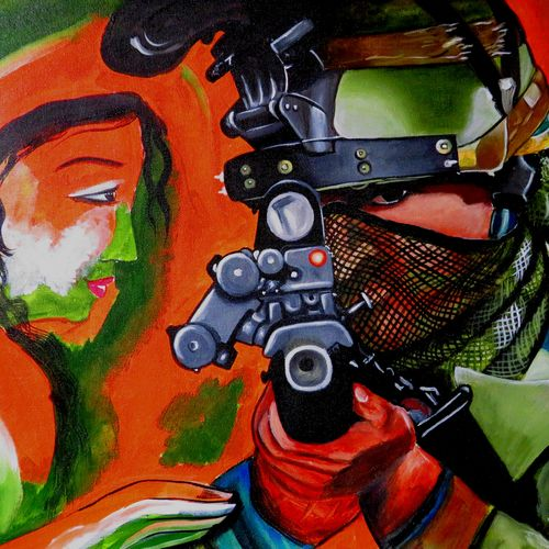 indian military with their mother, 21 x 16 inch, shiuli majumder,21x16inch,canvas,paintings,abstract paintings,modern art paintings,conceptual paintings,portrait paintings,paintings for dining room,paintings for bedroom,paintings for office,acrylic color,GAL01355233842