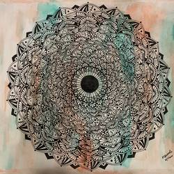 mandala art, 9 x 11 inch, kanimozhi mathivanan,9x11inch,drawing paper,drawings,art deco drawings,acrylic color,pen color,pencil color,watercolor,paper,GAL02207633849