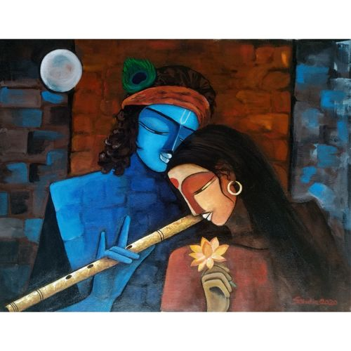 radha krishna, 30 x 24 inch, sheetal bhatia,30x24inch,canvas,paintings,religious paintings,acrylic color,GAL01681933853