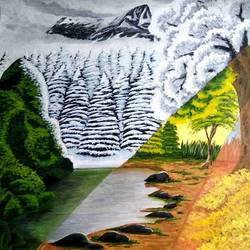 all seasons, 14 x 18 inch, nireeksha acharya,14x18inch,canvas,paintings,landscape paintings,paintings for living room,paintings for bedroom,paintings for office,paintings for kids room,paintings for school,paintings for hospital,acrylic color,GAL02175633854