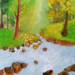 silent river with rocks, 8 x 10 inch, reema pereira,8x10inch,canvas,paintings,nature paintings   scenery paintings,paintings for dining room,paintings for living room,paintings for dining room,paintings for living room,acrylic color,oil color,GAL02172033858