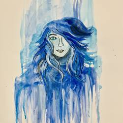 bleed blue, 12 x 16 inch, amelia ghosh,12x16inch,thick paper,figurative paintings,modern art paintings,portrait paintings,watercolor,GAL02178033875