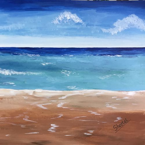 beach, 12 x 18 inch, sheetal chaudhary,12x18inch,ivory sheet,paintings,landscape paintings,paintings for dining room,paintings for living room,paintings for bedroom,paintings for office,paintings for kids room,paintings for hotel,paintings for kitchen,paintings for school,paintings for hospital,acrylic color,GAL01560333881
