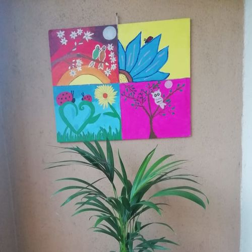 nature themed canvas hand painting, 20 x 16 inch, vanvy v,20x16inch,canvas,paintings,flower paintings,landscape paintings,paintings for dining room,paintings for living room,paintings for bedroom,acrylic color,fabric,GAL02173633888