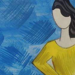 yoga posture #2, 6 x 8 inch, nitasha luthra,6x8inch,thick paper,paintings,abstract paintings,modern art paintings,contemporary paintings,paintings for dining room,paintings for living room,paintings for bedroom,paintings for office,paintings for kids room,paintings for hotel,paintings for school,paintings for hospital,acrylic color,paper,GAL02210033889