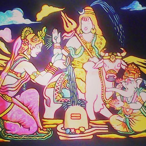 the lord shiva family, 15 x 11 inch, umesh maravi,realism drawings,paintings for living room,religious paintings,lord shiva paintings,cloth,natural color,15x11inch,GAL012233389