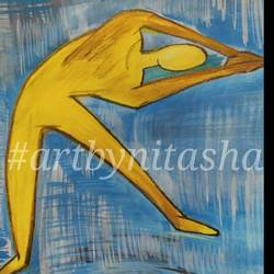 yoga posture #3, 6 x 8 inch, nitasha luthra,6x8inch,thick paper,paintings,abstract paintings,modern art paintings,contemporary paintings,paintings for dining room,paintings for living room,paintings for bedroom,paintings for office,paintings for kids room,paintings for hotel,paintings for school,paintings for hospital,acrylic color,paper,GAL02210033890