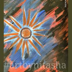 sun in dark, 6 x 8 inch, nitasha luthra,6x8inch,thick paper,paintings,abstract paintings,modern art paintings,contemporary paintings,paintings for dining room,paintings for living room,paintings for bedroom,paintings for office,paintings for kids room,paintings for hotel,paintings for school,paintings for hospital,acrylic color,paper,GAL02210033892